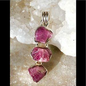Jewelry - Sterling Silver Rough Cut Pink Tourmaline Pendant